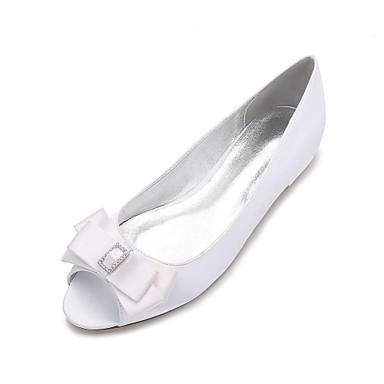 Women's Shoes Satin Spring Summer Ballerina Comfort Wedding Shoes Flat Heel Peep Toe Rhinestone Bowknot Sparkling Glitter for Wedding