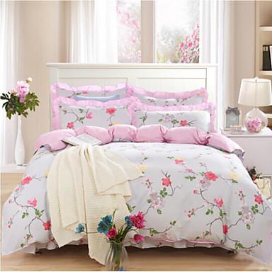 Blumen 4 Stück Baumwolle Baumwolle 1 Stk. Bettdeckenbezug 2 Stk. Kissenbezüge 1 Stk. Spannbetttuch