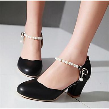 Damen Schuhe PU Frühling Komfort High Heels für Normal Weiß Schwarz Rosa