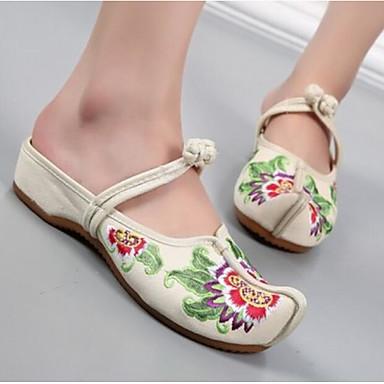 Damen Schuhe Stoff Sommer Komfort Sandalen Für Normal Schwarz Beige Rot