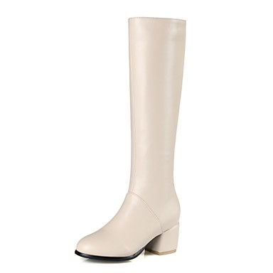 0746d51b8d4 Women s Shoes Leatherette Fall   Winter Fashion Boots Boots Chunky Heel Round  Toe Knee High Boots Zipper Black   Beige