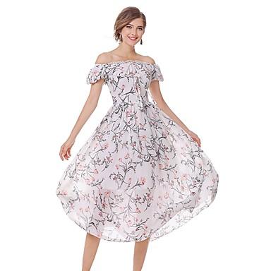Damen Ausgehen Einfach Niedlich Street Schick Lantern Sleeve A-Linie Hülle Chiffon Kleid - Spitze, Druck Midi Bateau Hohe Hüfthöhe