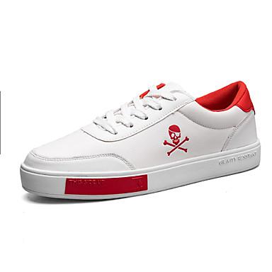 للرجال أحذية PU ربيع خريف مريح أحذية رياضية دانتيل إلى رياضي فضفاض الأماكن المفتوحة أبيض أسود أحمر/أبيض البرتقالي والأسود