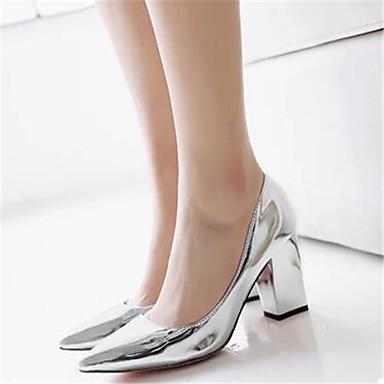 Damen Schuhe PU Frühling Herbst Komfort High Heels Für Normal Gold Silber