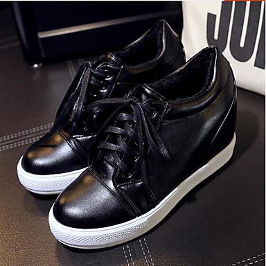 Damen Schuhe PU Frühling Komfort Sneakers Für Normal Weiß Schwarz Silber