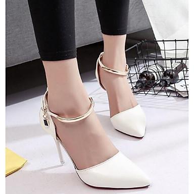 Damen Schuhe Echtes Leder PU Sommer Pumps High Heels Für Normal Weiß Schwarz Rosa