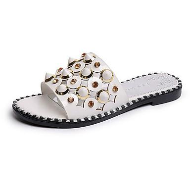 Damen Schuhe PU Sommer Komfort Flache Schuhe Für Normal Weiß Schwarz Rot