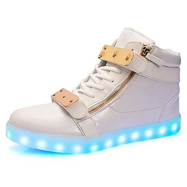 Női Cipő Bőrutánzat / Bőr Tavasz / Ősz Világító cipők / Kényelmes Tornacipők Gyalogló Alacsony Kerek orrú LED mert Sport / Szabadtéri