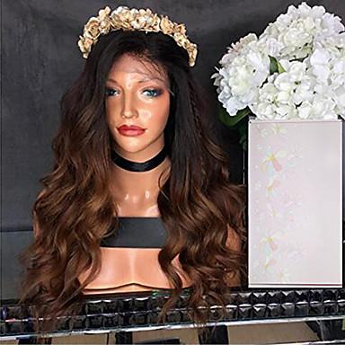 Remy haj Csipke eleje Paróka Hullámos haj 130% Sűrűség 100% kézi csomózású Afro-amerikai paróka Természetes hajszálvonal Ombre haj Faux