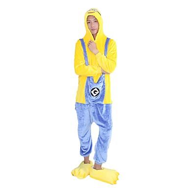 Kigurumi-Pyjamas mit Hausschuhen Mini gelbe Männer / Karton Pyjamas-Einteiler Kostüm Flanell Gelb Cosplay Für Erwachsene Tiernachtwäsche