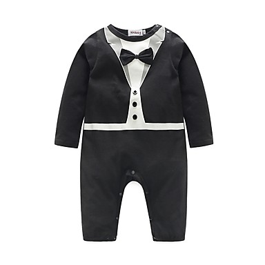 Baby Boys' Solid Colored Short Sleeve Cotton Overall & Jumpsuit
