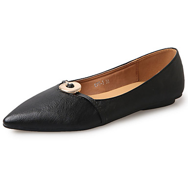 Damen Schuhe PU Frühling Sommer Komfort Leuchtende Sohlen Loafers & Slip-Ons Flacher Absatz Spitze Zehe für Kleid Schwarz Beige Rosa