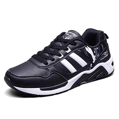 Férfi cipő Lélegző háló PU Tavasz Nyár Kényelmes Sportcipők Futócipő Fűző mert Sport Hétköznapi Szabadtéri Fekete Piros Kék