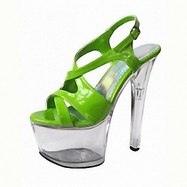 Women's PU(Polyurethane) Summer Formal Shoes Sandals Stiletto Heel Peep Toe Buckle / Lace-up Silver / Navy Blue / Green / Party & Evening / Party & Evening