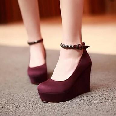 Damen Schuhe PU Sommer Komfort High Heels Für Normal Schwarz Rot