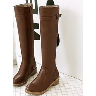 Damen Schuhe PU Herbst Winter Komfort Stiefel Mit Für Normal Schwarz Braun
