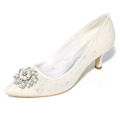Női Cipő Tüll Tavasz / Nyár Magasított talpú Esküvői cipők Tűsarok Erősített lábujj Kék / Rózsaszín / Kristály / Party és Estélyi