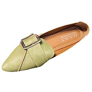 Női Cipő PU Tavasz / Ősz Kényelmes Papucsok & Balerinacipők Lapos Erősített lábujj Fekete / Zöld