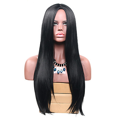 Synthetic Wig Straight Synthetic Hair Black Wig Long Capless Black