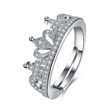 Damen Bandring Schmuck Silber Edelstahl Zirkon versilbert Kreisförmig Kronenform Geometrische Form Irregulär Personalisiert Luxus