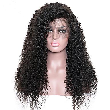 Emberi haj Csipke eleje Paróka Kinky Curly Sűrűség 100% kézi csomózású / Afro-amerikai paróka / Természetes hajszálvonal Közepes / Hosszú