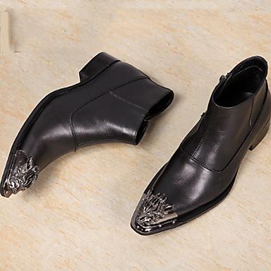 Férfi cipő Nappa Leather Ősz / Tél Kényelmes / Újdonság / Divatos csizmák Félcipők Bokacsizmák Fekete / Esküvő / Party és Estélyi
