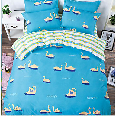 Cartoon Design 4 Stück Baumwolle Druck Baumwolle 4-teilig (1 Bettbezug, 1 Bettlaken, 2 Kissenbezüge)