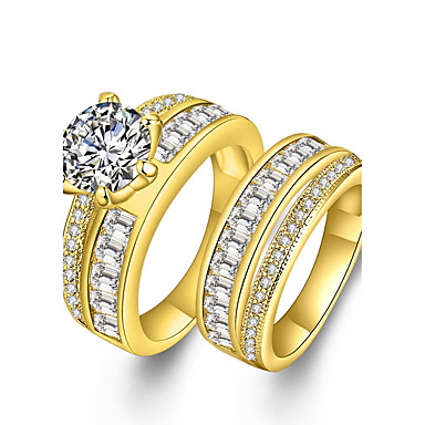 Couple's Cubic Zirconia / Synthetic Diamond Couple Rings - Zircon, Rhinestone, Gold Plated Statement, Luxury, Bohemian 6 / 7 / 8 Gold For Party / Engagement / Gift