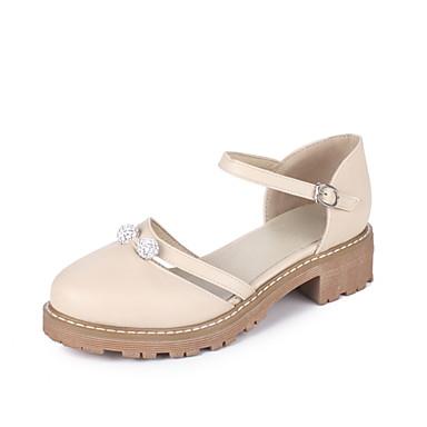 Damen Schuhe PU Sommer Komfort Sandalen Blockabsatz Runde Zehe Strass Für Normal Kleid Blau Rosa Mandelfarben