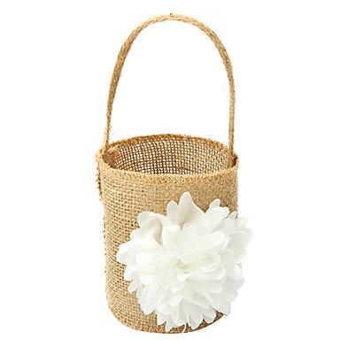 abordables Paniers de Fleurs-Panier de fleurs Lin 21 cm Dentelle / Fleur 1 pcs