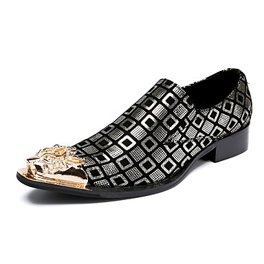 للرجال أحذية جلد ربيع / خريف حديث المتسكعون وزلة الإضافات أسود / فضي / زفاف / الحفلات و المساء