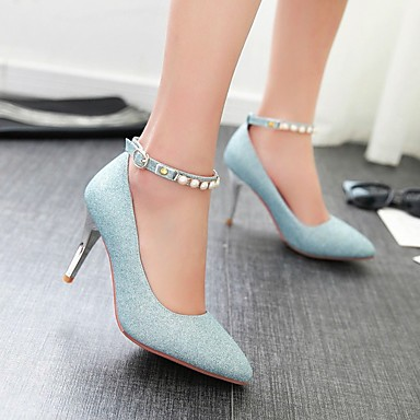 Damen Schuhe PU Frühling Komfort High Heels Spitze Zehe Für Normal Silber Purpur Blau