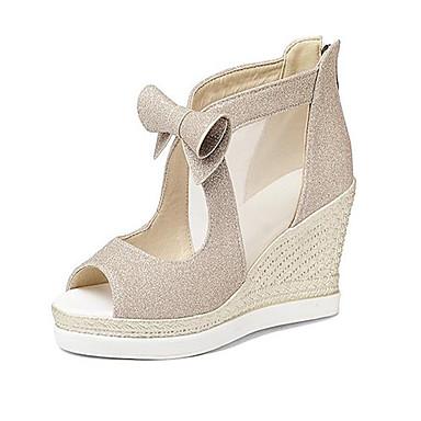 Damen Schuhe PU Frühling Sommer Komfort High Heels Keilabsatz Spitze Zehe Für Normal Gold Schwarz Silber