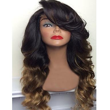 Echthaar Spitzenfront Perücke Große Wellen 130% Dichte 100 % von Hand geknüpft Afro-amerikanische Perücke Natürlicher Haaransatz Gefärbte