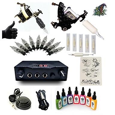 Starter Tattoo-Kits 2 x Stahl-Tattoomaschine für Umrißlinien und Schattierung LCD-Stromversorgung 5 x Tattoonadeln RL 3 Komplett-Set