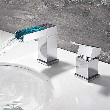 Moderne Moderner Stil LED 3-Loch-Armatur Wasserfall Keramisches Ventil Einzigen Handgriff Zwei Löcher Chrom, Waschbecken Wasserhahn