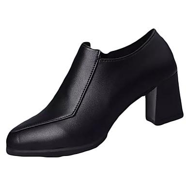 Női Cipő PU Ősz Kényelmes Csizmák Gyalogló Vaskosabb sarok Erősített lábujj Cipzár mert Fekete / Burgundi vörös