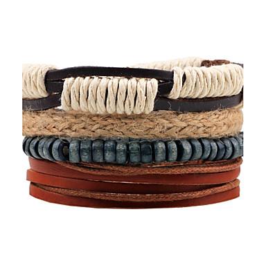 Men's Wrap Bracelet, Leather Bracelet - Leather Brown