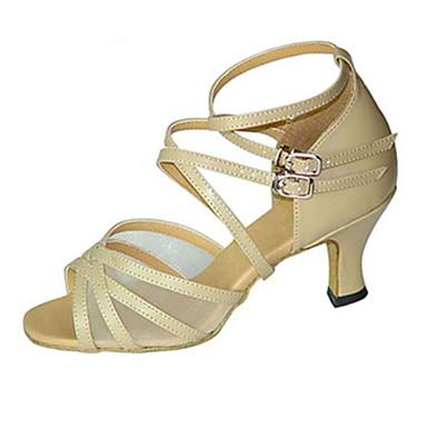 Női Latin cipők Selyem Szandál Csat Tűsarok Személyre szabható Dance Shoes Bézs / Sötétvörös / Leopárd / Teljesítmény / Bőr