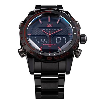 ASJ Erkek Bilek Saati Quartz Japon Kuvartz Alarm Takvim Kronograf Su Resisdansı LED Çift Zaman Bölmeli LCD Paslanmaz Çelik Bant Lüks Siyah