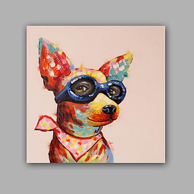 Hang festett olajfestmény Kézzel festett - Állatok Klasszikus Modern Kortárs Anélkül, belső keret / Hengerelt vászon