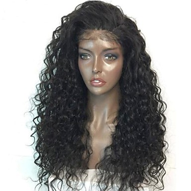 Virgin Human Hair Remy Human Hair Glueless Lace Front Lace Front Wig Brazilian Hair Curly Wig 130% 150% 180% Density with Baby Hair Natural Hairline African American Wig Glueless Bleached Knots