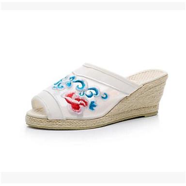 Damen Sandalen Komfort Sommer PU Normal Weiß Schwarz Rot 5 - 7 cm