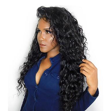 Emberi haj Tüll homlokrész Csipke eleje Paróka Göndör Paróka Természetes hajszálvonal Afro-amerikai paróka 100% kézi csomózású Női Közepes Hosszú Emberi hajból készült parókák CARA