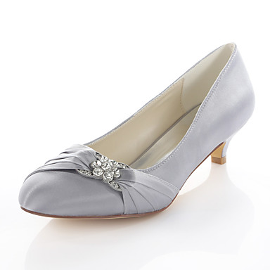 Women's Shoes Stretch Satin Spring / Fall Basic Pump Wedding Shoes Kitten Heel Round Toe Crystal Silver / Red / Blue / Party & Evening