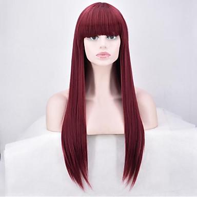 Synthetische Perücken Glatt Rot Damen Kappenlos Natürliche Perücke Lang Synthetische Haare