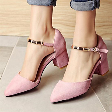 Damen Schuhe Nubukleder PU Sommer Komfort Sandalen Für Normal Schwarz Rot Rosa
