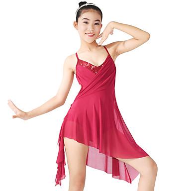 Ballett Kleider Damen Kinder Vorstellung Elastan Polyester Pailletten Ausgehöhlt Drapiert Gefalten Seite drapiert Pailletten 2 Stück