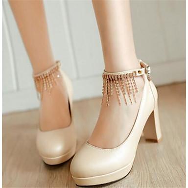 Damen Schuhe PU Frühling Komfort High Heels Für Normal Beige Blau Rosa