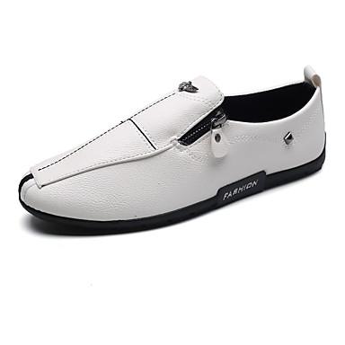 Herren Schuhe Leder Frühling Herbst Komfort Leuchtende Sohlen Loafers & Slip-Ons Reißverschluss Für Normal Party & Festivität Weiß Schwarz